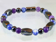 Magnetic Bracelet with triple strength magnetic Hematite, Amethyst & Sodalite
