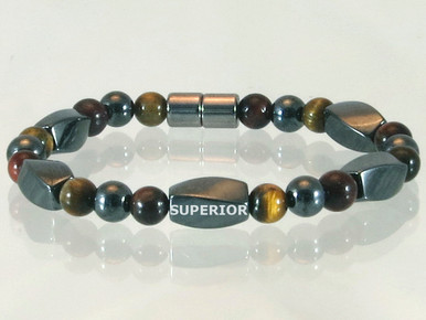Magnetic bracelet made with triple strength magnetic Hematite combined with Red and Yellow Tiger Eye gemstones