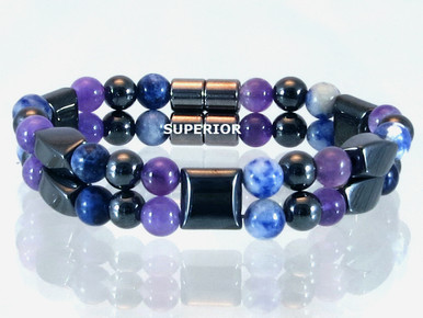 Magnetic bracelet made with a double row of triple strength hematite mixed with Amethyst and Sodalite gemstones.