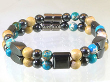 Magnetic bracelet made with triple strength magnetic Hematite combined with gemstones Turquoise Impression Jasper and Picture Jasper