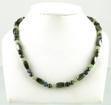 Magnetic necklace made with triple strength magnetic hematite combined with Aventurine and Sodalite gemstones