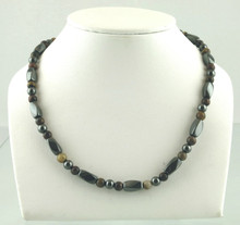 Magnetic necklace made with triple strength magnetic Hematite combined with Red and Yellow Tiger Eye gemstones