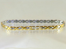 Magnetic anklet Oval X SG made with 316L stainless steel with N52-5200 Gauss rare earth magnets