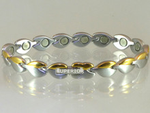"Magnetic bracelet Tear Drop SG stainless steel with 18-5000 gauss magnets in an 8 9/16"" length - 90,000 Rating"