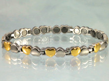 "Magnetic bracelet Open Hearts SG stainless steel with 22-5200 gauss magnets in an 8"" length - 114,400 Rating"