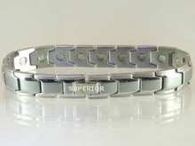 "Magnetic Bracelet Rhodium Square SG 15/32"" wide x 13/32"" long link with 19 rare earth magnets in 9 1/8"" length. It has a rating of 98,800 for magnetic therapy."