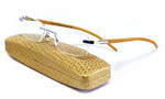 Calabria Bamboo Rimless Reading Glasses w/ Case