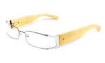 Calabria Designer Eyeglasses Bamboo 65 Silver & Blonde :: Custom Left & Right Lens
