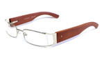 Calabria Designer Reading Glasses Bamboo 65 Silver & Brown :: Rx Single Vision