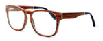"Specs of Wood Designer Wooden Eyewear Made in the USA ""California Redwood"" in Layered Redwood (Cherry) :: Custom Left & Right Lens"