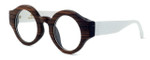 """Specs of Wood Designer Wooden Eyewear Made in the USA """"Sharp Piano Rounds"""" in Ebony & Stained White Oak Wood (Dark Brown White) :: Custom Left & Right Lens"""