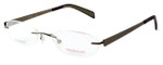 Totally Rimless Designer Eyeglasses TR163-BRN in Brown :: Progressive
