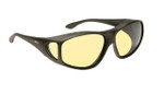 Haven Designer Fitover Sunglasses Tapered Square Night Driver in Black & Night Driver Yellow Lens (LARGE)