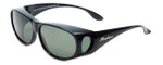 Montana Designer Fitover Sunglasses F03D in Gloss Black & Polarized G15 Green Lens