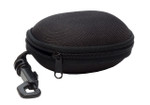 Calabria zippered case for folding eyeglasses with clip hanger