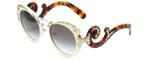 Prada Designer Sunglasses PR07TS-VAG0A7 in White/Tortoise & Gold & Amber Gradient Lens