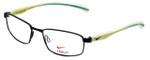 Nike Flexon Designer Reading Glasses NK4255-011 in Satin Black Turbo Green 52mm