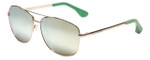 Isaac Mizrahi Designer Sunglasses Aviator in Gold-Green with Gold Mirror