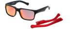 Arnette Designer Sunglasses D Street AN4211-4476Q in Matte Black & Red Flash Lens