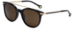 Carolina Herrera Designer Sunglasses SHE690-0700 in Black with Brown Lens