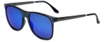 Carrera 6011S Designer Sunglasses in Transparent Blue with Blue Mirror Lens