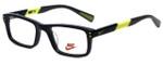 Nike Designer Eyeglasses 5537-001 in Black Volt 44mm Kids Size :: Custom Left & Right Lens