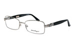 Salvatore Ferragamo Designer Eyeglasses 2106 in Silver-Black :: Custom Left & Right Lens
