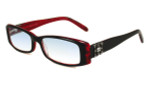 Calabria 840 Dazzles Crystals Reading Glasses in Red :: Rx Single Vision