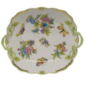 Herend Queen Victoria Square Cake Plate with Handles 9.5 in VBO---00430-0-00