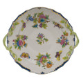 Herend Queen Victoria Blue Border Chop Plate with Handles 12 in VBO-Y301173-0-00