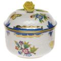 Herend Queen Victoria Blue Border Sugar Bowl with Rose 6 oz VBO-Y301463-0-09