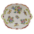 Herend Queen Victoria Pink Border Square Cake Plate with Handles 9.5 in VBO-Y400430-0-00
