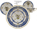 Herend Rothschild Bird Borders Blue 5-piece Place Setting