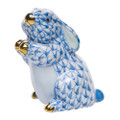 Herend Pudgy Bunny Fishnet Blue 1.5 x 2 in SVHB--15068-0-00