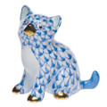 Herend Sitting Kitty Fishnet Blue 1.75 x 1.75 in SVHB--15232-0-00