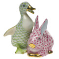Herend Duckling and Bunny Fishnet Key Lime and Raspberry 2.75 x 3 in SVHQ3215611-0-00