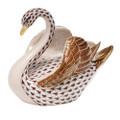 Herend Swan Fishnet Brown 4 x 3.5 in SVHBR205237-0-00