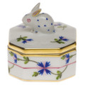 Herend Petite Octagonal Box with Bunny Blue Garland 2 in PBG---06105-0-25