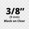 "3/8"" Black on Clear ptouch label"