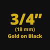 "3/4"" Gold on Black ptouch label"