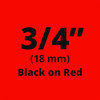 "3/4"" Black on Red ptouch label"