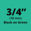 "3/4"" Black on Green ptouch label"