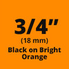 "3/4"" Black on Orange ptouch label"