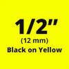 "1/2"" black on yellow D1 tape"