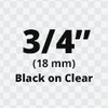 "3/4"" black on clear D1 tape"