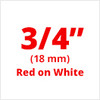 "3/4"" red on white D1 tape"