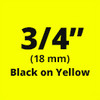 "3/4"" black on yellow D1 tape"