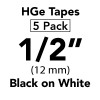 "HGE 1/2"" Black on White"