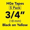 "HGE 3/4"" black on yellow"