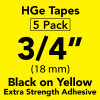 "3/4"" HGe extra strength 3/4"" Black on Yellow"